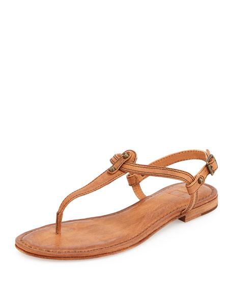 Frye Carson Leather Thong Sandal Camel