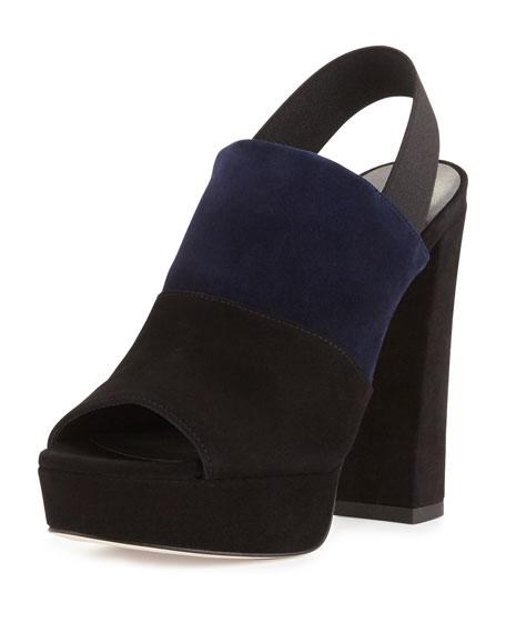 Stuart Weitzman Partition Suede Platform Sandal, Black