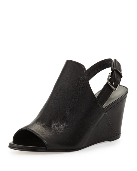 Stuart Weitzman Shapely Slingback Wedge Sandal, Black