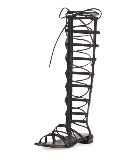 Stuart Weitzman Sparta Lace-Up Gladiator Sandal, Black