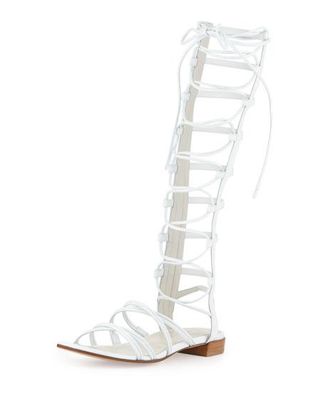 Stuart Weitzman Sparta Lace-Up Gladiator Sandal, White