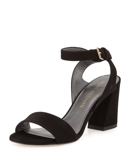 Stuart Weitzman True Suede City Sandal, Black