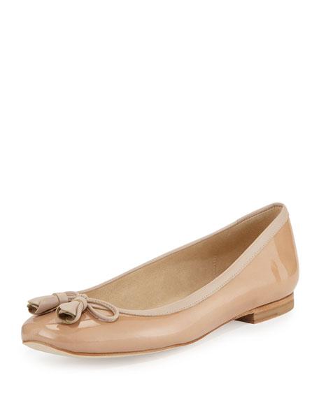 Tulipbow Patent Ballerina Flat, Adobe