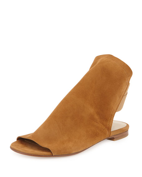 Stuart Weitzman Updated Slouchy Suede Sandal, Camel