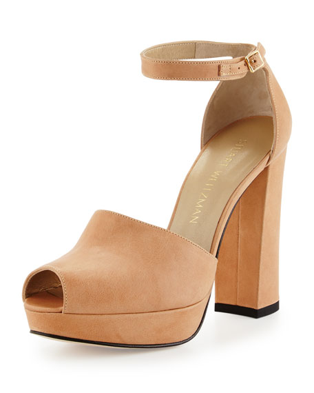 Stuart Weitzman Valleygirl Leather Platform Sandal, Flesh