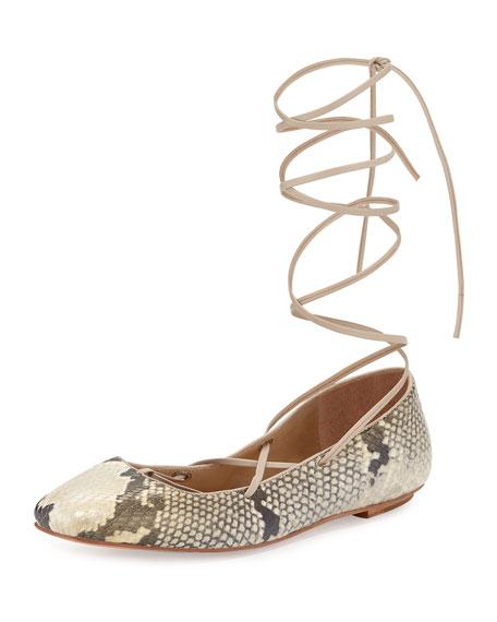 Delman Faith Python-Print Lace-Up Ballerina Flat, Roccia