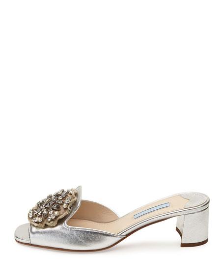Brocade-Embellished Metallic Mule, Silver (Argento)