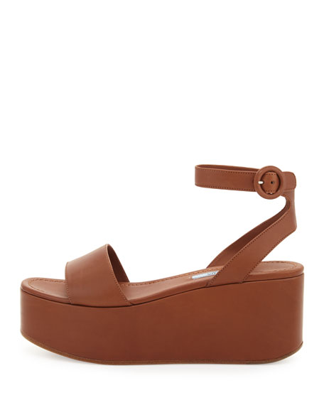 Single-Band Leather Platform Sandal, Tan