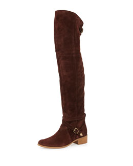 Gianna Suede Over-the-Knee Boot, Bordeaux