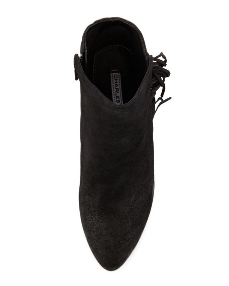 Irene Fringe Leather Wedge Bootie, Black