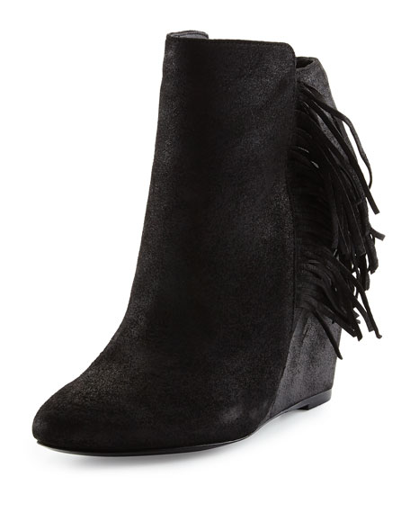 Charles David Irene Fringe Leather Wedge Bootie, Black