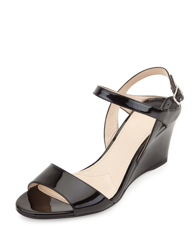 ee41436d657 Prada Patent Demi-Wedge Sandals