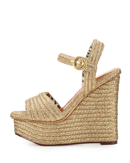 Karen Woven Metallic Wedge Sandal, Gold