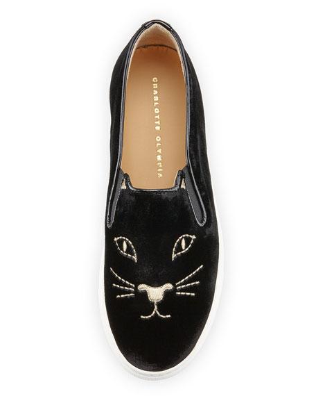 Cool Cats Velvet Slip-On Sneaker, Black
