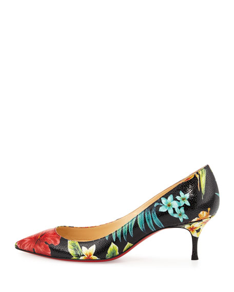 Pigalle Follies Floral 55mm Red Sole Pump, Black/Multi