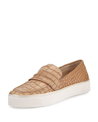 Lounge Crocodile-Embossed Loafer Sneaker, Sand