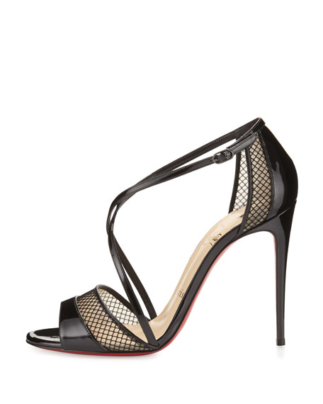 christian louboutin suede mesh sandals
