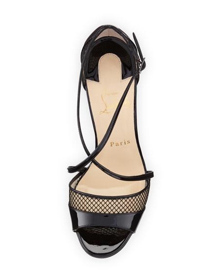 Christian Louboutin Slikova Patent Mesh Red Sole Sandal, Black