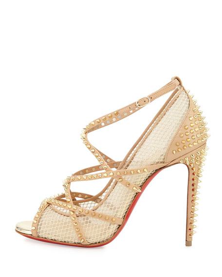 Christian Louboutin Alarc Mini-Spike Mesh Red Sole Sandal, Nude ...