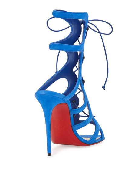 Christian Louboutin Amazoulo Caged Suede Red Sole Sandal, Electric