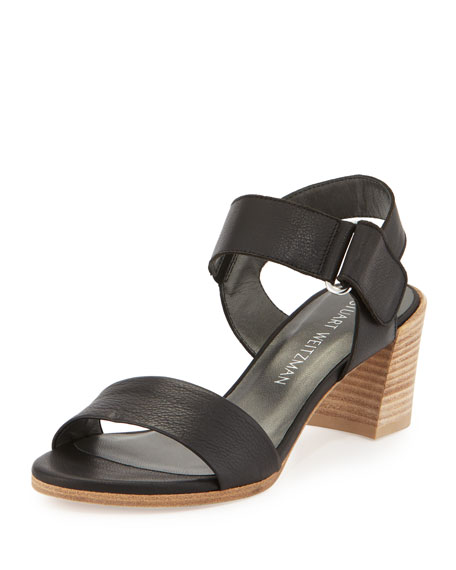 Stuart Weitzman Broadband Leather City Sandal, Nero