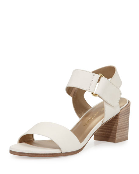 Stuart Weitzman Broadband Leather City Sandal, Vanilla