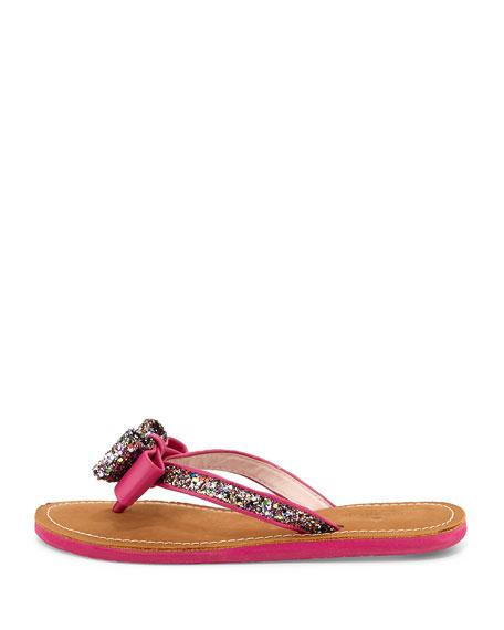 icarda glitter bow flat thong sandal, pink multi