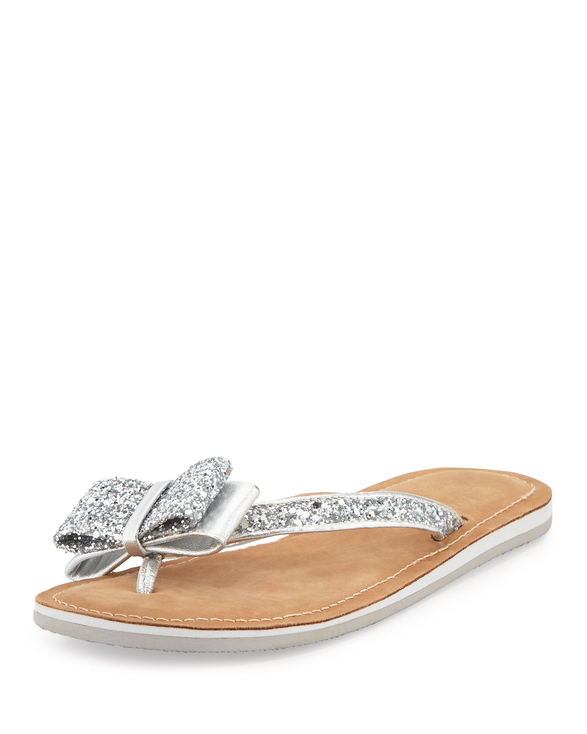88b2a72256f2 kate spade new york icarda glitter bow flat thong sandal, silver ...
