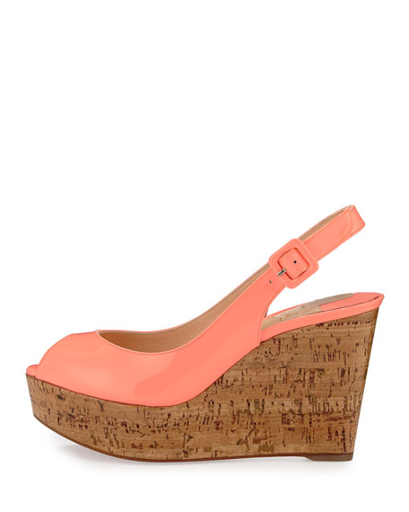 Christian Louboutin Une Plume Patent Peep-Toe Red Sole Wedge ...