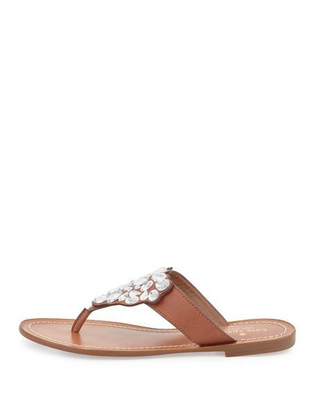 cora embellished flat thong sandal, new luggage