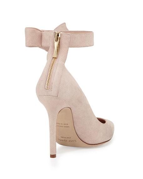 levie suede ankle-strap pump, pale blush