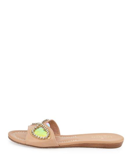 taleen too sunglasses slide sandal, natural/gold/blue mirror