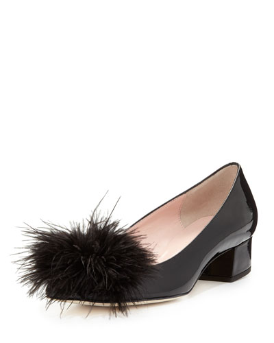 melinda patent feather pump, black