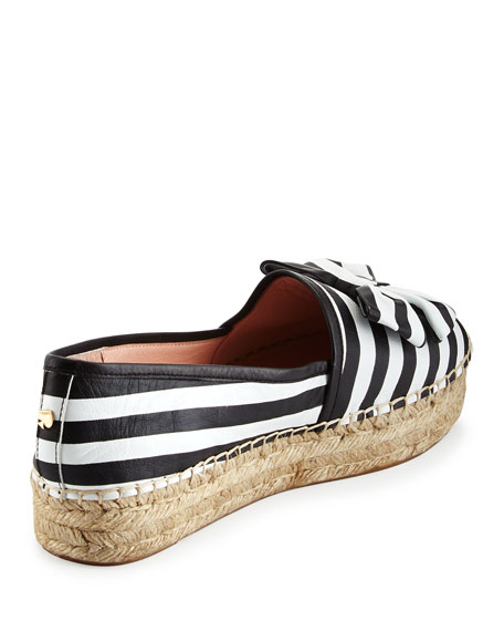 linds striped bow espadrille flat, black/white