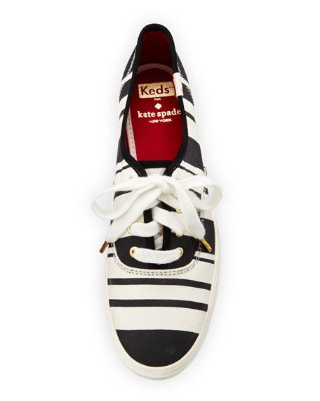 triple kick striped canvas sneaker, black