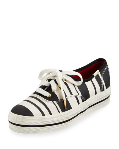 triple kick striped canvas sneaker, black