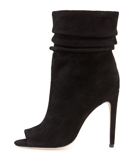 Sandra Peep-Toe Slouchy Boot, Black