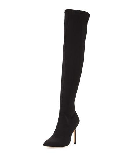 Halston Heritage Dani Pointed-Toe Over-the-Knee Boot, Black