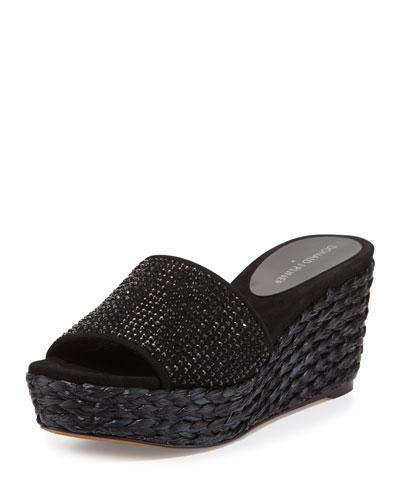 Frida Rhinestone Wedge Slide Sandal, Black