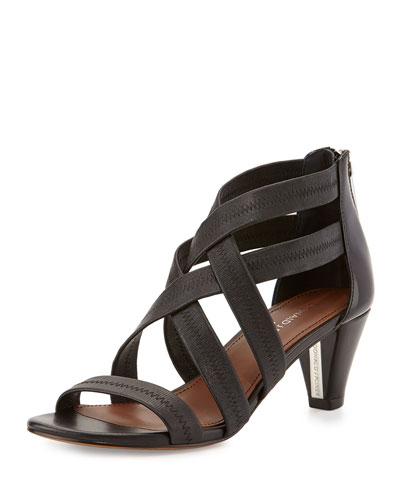 Donald J Pliner Vida Stretch-Leather Strappy Sandal, Black