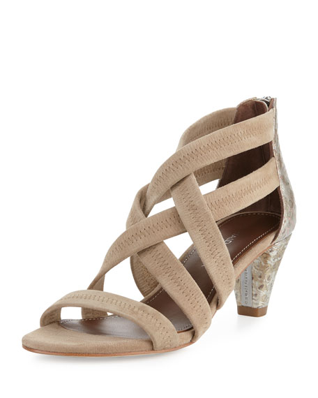 Donald J Pliner Vida Stretch-Suede Strappy Sandal, Natural