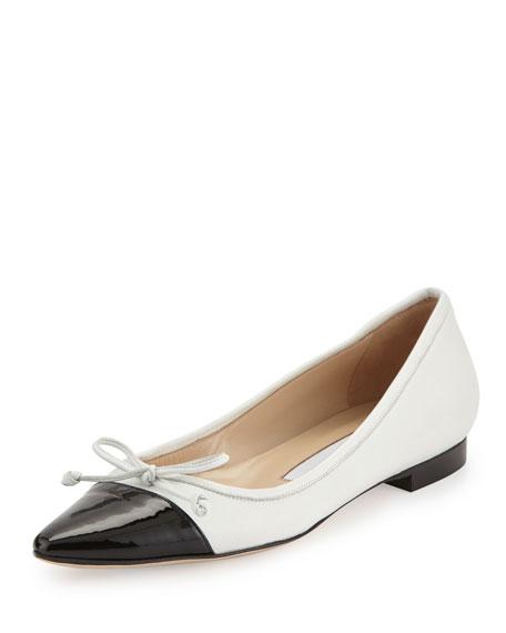 Manolo Blahnik Wendy Pointed-Toe Ballerina Flat, White/Black