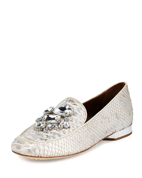 Donald J Pliner Helenesp Snake-Embossed Jeweled Loafer, Silver