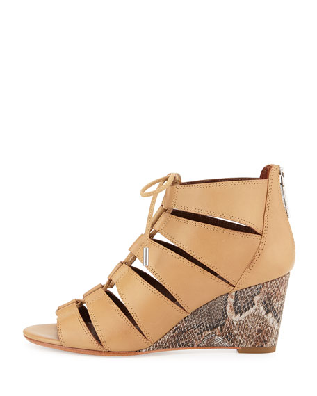 Jeisa Lace-Up Wedge Sandal, Natural