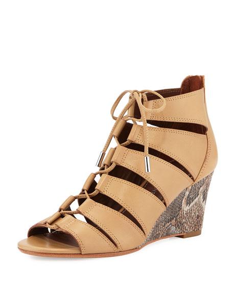 Donald J Pliner Jeisa Lace-Up Wedge Sandal, Natural
