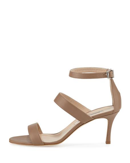 Kaotic Triple-Strap Sandal, Taupe