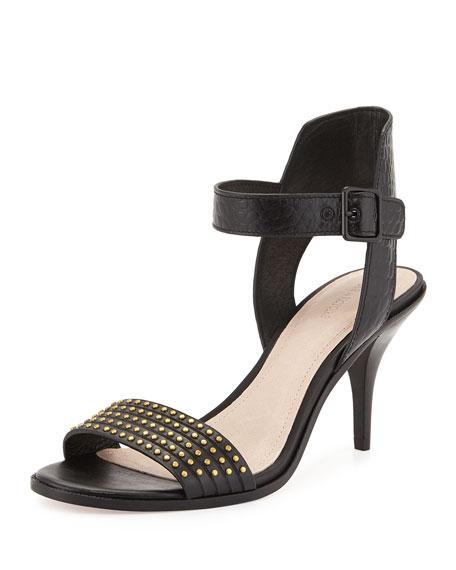 Pour la Victoire Mya Studded Ankle-Wrap Sandal, Black