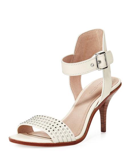 Pour la Victoire Mya Studded Ankle-Wrap Sandal, Cream