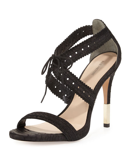 Pour la Victoire Shanna Crisscross Leather Sandal, Black
