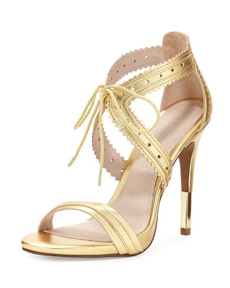 Pour la Victoire Shanna Crisscross Leather Sandal, Gold